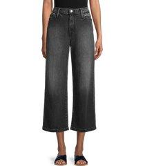 frame women's ali wide-leg cropped jeans - silverwood - size 24 (0)