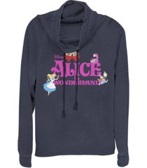 fifth sun women's alice in wonderland fleece cowl neck sweatshirt