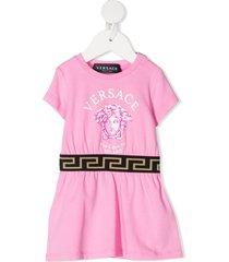 versace kids medusa head-print dress - pink