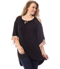 women top knit tunic scoop neck plus size 2x black fringed ¾ sleeves pullover