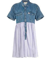 semicouture denim panel shirt dress - blue