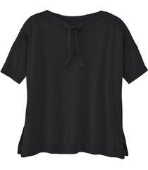 pullover met korte mouw, siernaden en ribbelmouwen, zwart 36