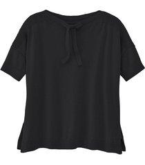 pullover met korte mouw, siernaden en ribbelmouwen, zwart 36/38