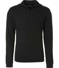 no excess pullover high neck half zip black