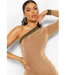 geo tape one shoulder textured slinky jumpsuit, champagne