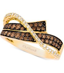 le vian chocolatier diamond overlap statement ring(5/8 ct. t.w.) in 14k gold