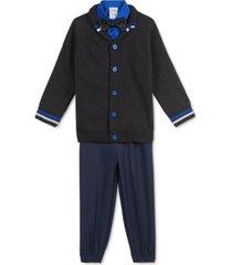 calvin klein toddler boys 4-pc. shawl-collar sweater, shirt, bow tie & pants set