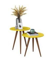 mesa lateral sofá redonda amarela - conjunto com 2