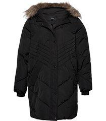 winter jacket plus hood fur collar zip quilted fodrad jacka svart zizzi