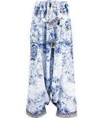 camilla printed silk harem trousers - blue