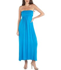 24seven comfort apparel strapless empire waist maxi dress