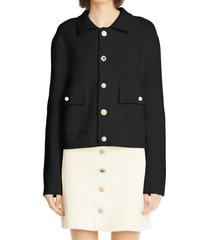 women's adam lippes crystal button knit work jacket, size large - black
