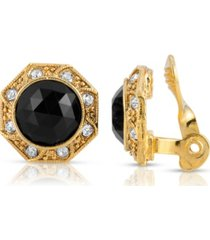 2028 gold tone black faceted crystal round button clip earring