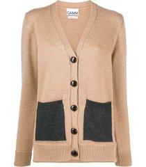 ganni contrast pocket cardigan - brown