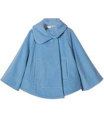 fay celeste blue virgin wool-cashmere cape