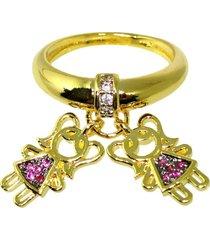 anel berloque filhos duas meninas com zircônia banhado a ouro - tricae