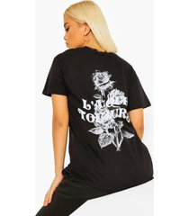 petite 'l'amour toujours' t-shirt met rugopdruk met bloemen, black