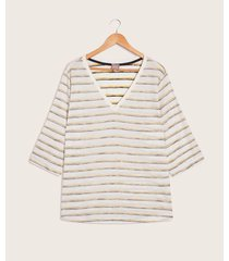camiseta mujer manga 3/4 rayas