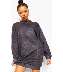 oversized acid wash gebleekte sweatshirt jurk, charcoal