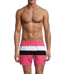 boss hugo boss men's filefish colorblock swim trunks - open pink - size l