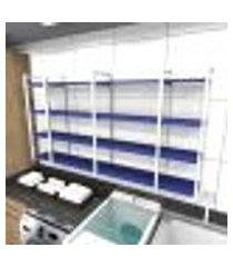 prateleira industrial lavanderia aço cor branco 180x30x98cm cxlxa cor mdf azul modelo ind57azlav