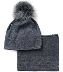 komplet (czapka + szalik) elegancja na luzie grafitowy