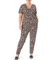 plus size women's leota michaela short sleeve crepe jumpsuit, size 1x - brown
