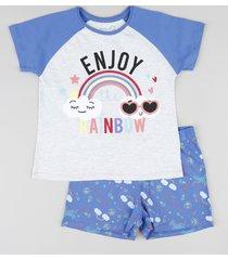 "pijama infantil ""enjoy the rainbow"" raglan manga curta cinza mescla claro"
