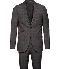 checked mens suit pak grijs lindbergh