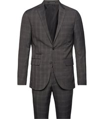 checked mens suit pak grijs lindbergh
