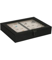 mele co. camellia glass top fashion jewelry box and ring case in textured black vegan leather