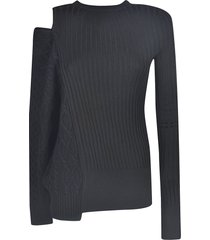 sacai cut-out detail woven sweater