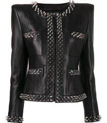 balmain spiked stud detail jacket - black