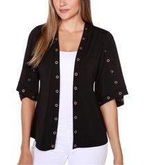 belldini black label embellished 3/4 sleeve cardigan