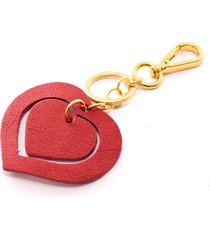 chaveiro couro maria verônica modelo duo coração vermelho