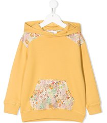 bonpoint floral-panelled hoodie - yellow