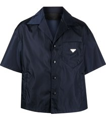 prada triangle motif nylon shirt - blue