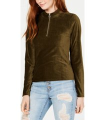 crave fame juniors' corduroy mock-neck zip-up top