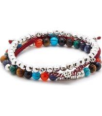 multi bead sterling silver thread elastic bracelet