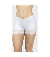 short com renda vekyo lingerie anágua branco
