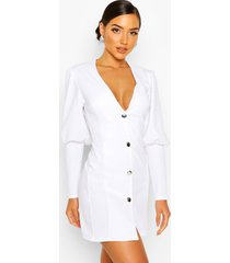 puff sleeve plunge button front blazer, white