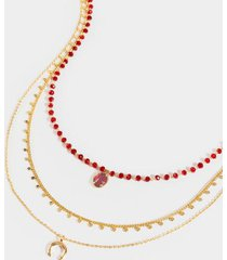 jeaneen emerald layered necklace - wine