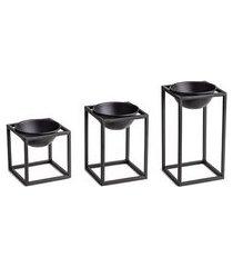 kit de cachepots com 3 peças mart preto 10 cm