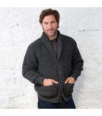 mens button collar sweater charcoal large