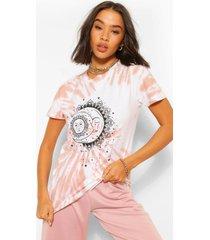 t-shirt met geverfd hemdje en sterrenprint, terracotta