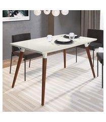 mesa de jantar retrô 4 lugares artesano valentinna branco fosco