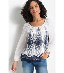 blouse met kant en borduursel