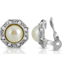 2028 gold tone imitation pearl crystal round button clip earring