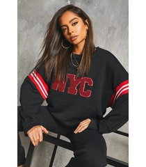 'nyc' varsity rib sweater & jogger set