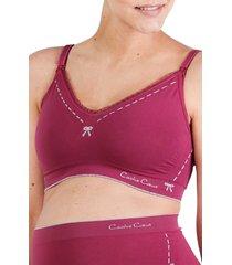 women's cache coeur illusion seamless maternity/nursing bra, size x-large - purple